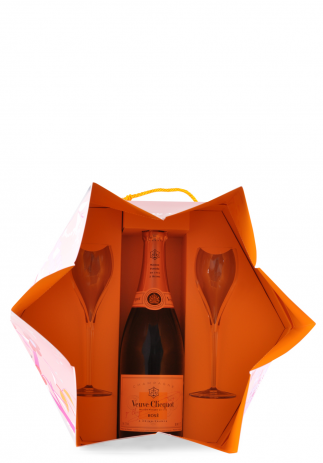 Champagne Veuve Clicquot Shakkei Rose + GB + 2 Pahare (0.75L)