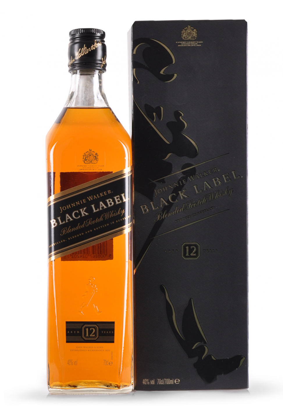 whisky johnnie walker black label blended scotch 0 7l. Black Bedroom Furniture Sets. Home Design Ideas