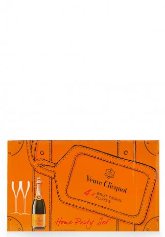 CHAMPAGNE VEUVE CLICQUOT, SET DE 4 PAHARE SI 4 STICLE HOME PARTY (4 X 0.75L)