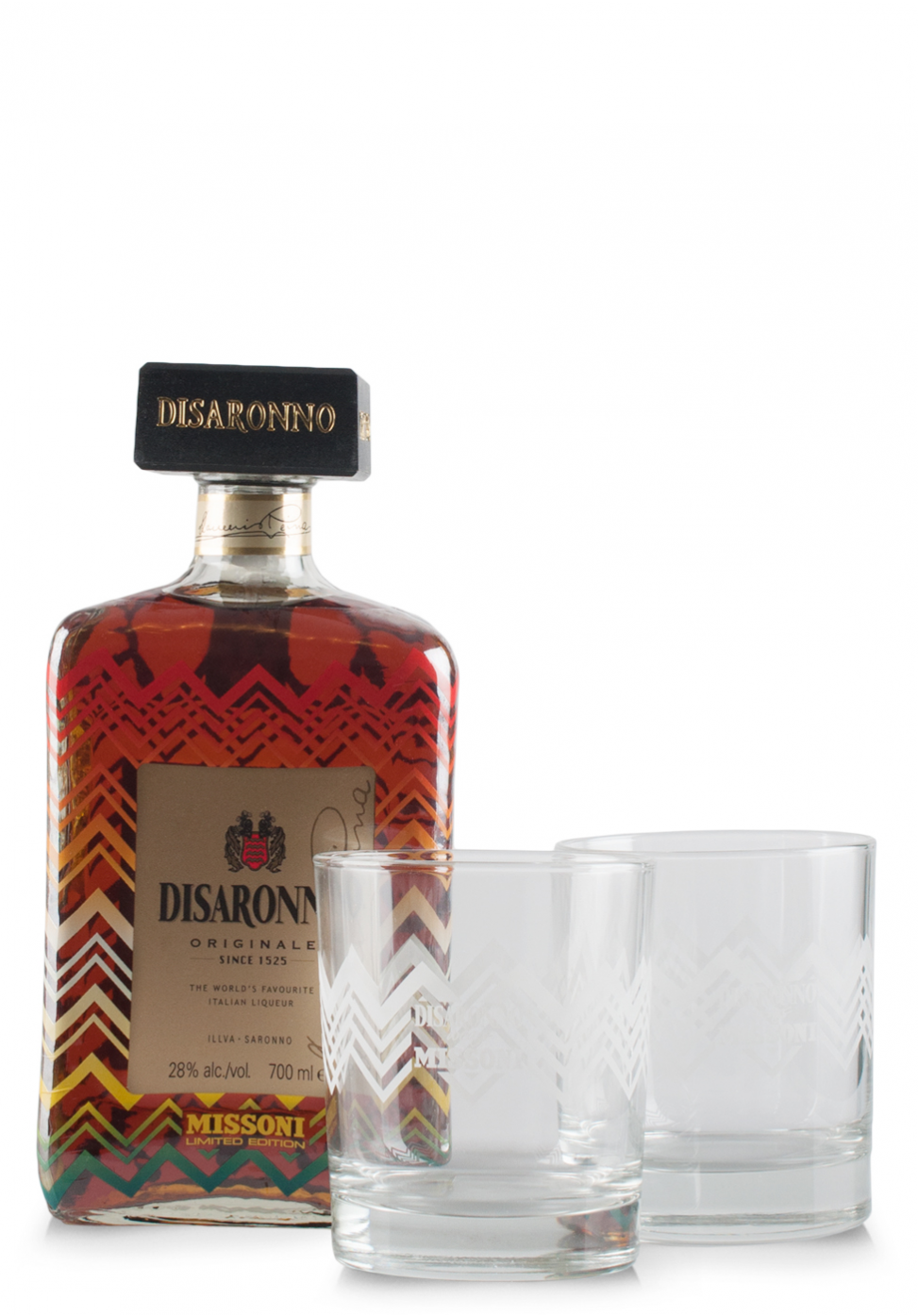 Lichior Amaretto Disaronno, Limited Edition by Missoni + 2 pahare (0.7L)