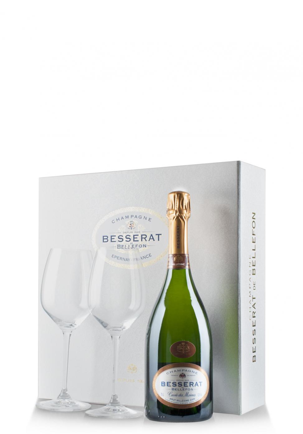 Set cadou Şampanie Besserat de Bellefon, Millesimé 2006, Brut (0.75L) + Cutie cadou cu 2 pahare Riedel
