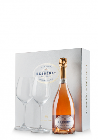 Set cadou Şampanie Besserat de Bellefon Rosé, Brut (0.75L) + Cutie cadou cu 2 pahare Riedel