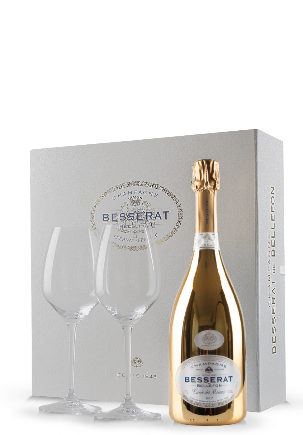 Set cadou Şampanie Besserat de Bellefon Sec (0.75L) + Cutie cadou cu 2 pahare Riedel