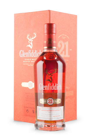Whisky Glenfiddich Aged 21 Ani, Small Batch Reserve, Single Malt Scotch Whisky, Reserva Rum Cask Finish (0.7L)