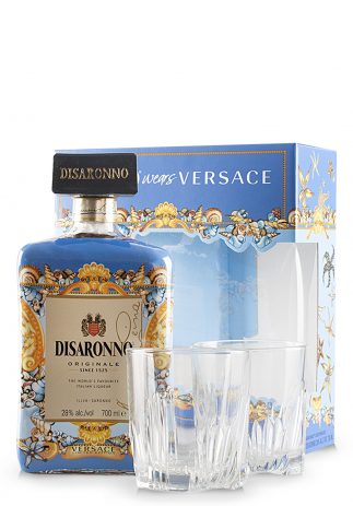 Lichior Amaretto Disaronno, Limited Edition by Versace + 2 pahare (0.7L)