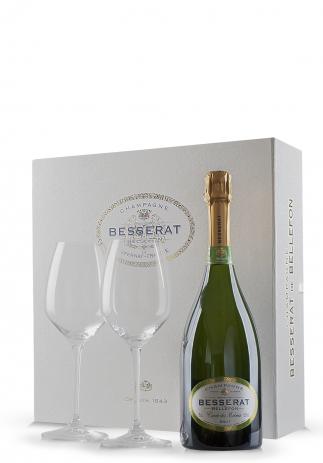 Set cadou Şampanie Besserat de Bellefon, Brut (0.75L) + Cutie cadou cu 2 pahare Riedel