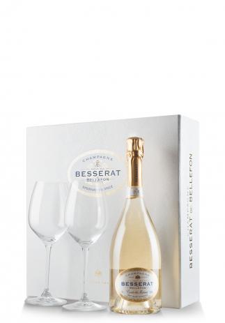 Set cadou Şampanie Besserat de Bellefon, Blanc de Blancs, Brut (0.75L) + Cutie cadou cu 2 pahare Riedel