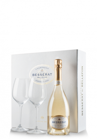 Set cadou Şampanie Besserat de Bellefon, Blanc de Blancs, Brut (0.75L) + Cutie cadou cu 2 pahare Riedel (3272, SET CADOU SAMPANIE BLANC)