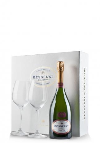 Set cadou Şampanie Besserat de Bellefon, Blanc de Noirs, Brut (0.75L) + Cutie cadou cu 2 pahare Riedel Image