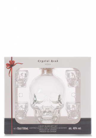 Vodka Crystal Head set 4 pahare shot (0.75L) (2389, VODKA CRYSTAL HEAD)